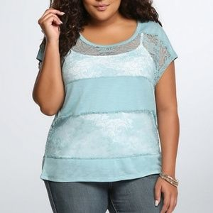 Torrid size 2 teal blue top with lace